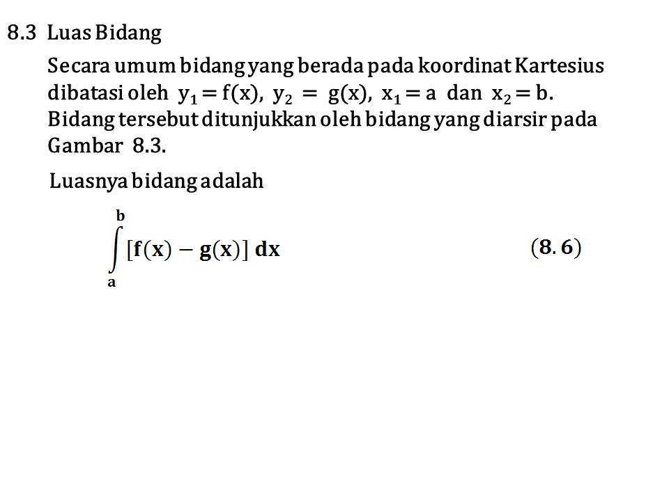 8.3 Luas Bidang Secara umum bidang yang berada pada koordinat Kartesius. dibatasi oleh y1 = f(x), y2 = g(x), x1 = a dan x2 = b.