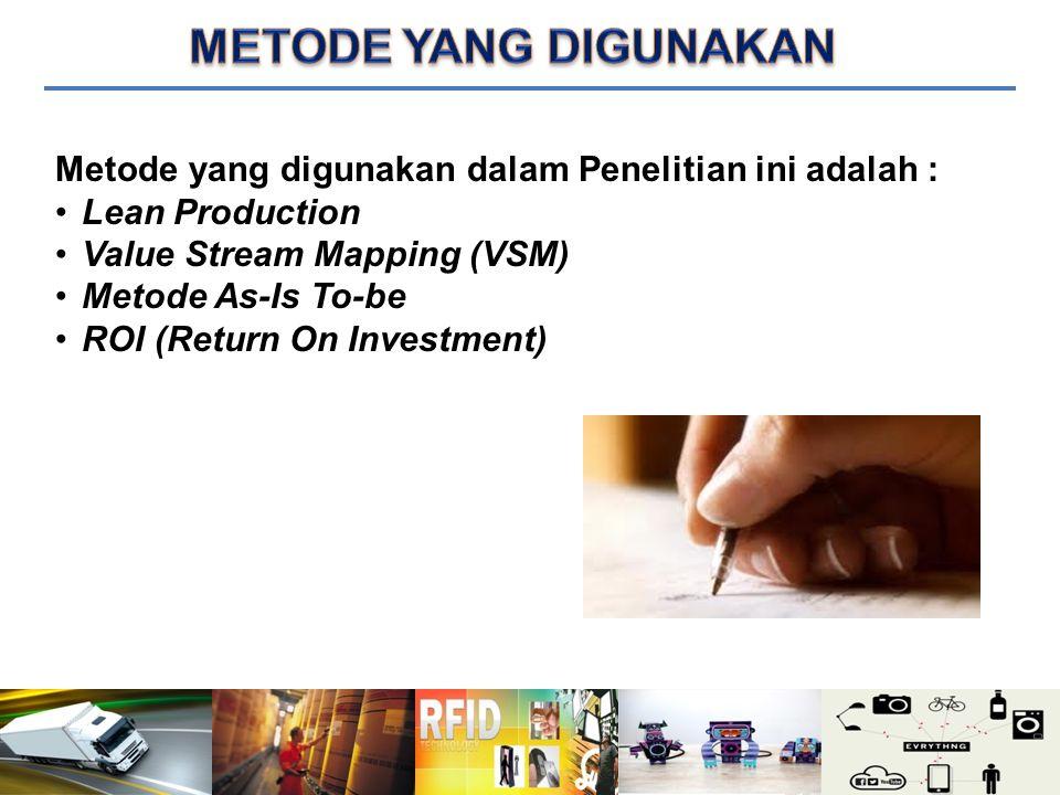 METODE YANG DIGUNAKAN Metode yang digunakan dalam Penelitian ini adalah : Lean Production. Value Stream Mapping (VSM)