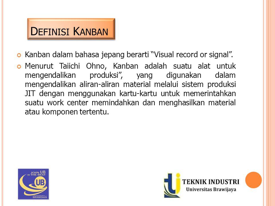 Definisi Kanban Kanban dalam bahasa jepang berarti Visual record or signal .