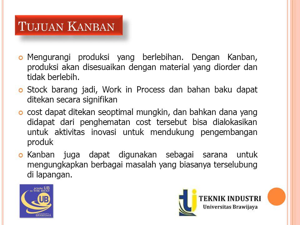 Tujuan Kanban Mengurangi produksi yang berlebihan. Dengan Kanban, produksi akan disesuaikan dengan material yang diorder dan tidak berlebih.
