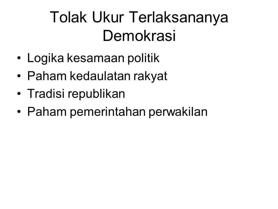 Tolak Ukur Terlaksananya Demokrasi