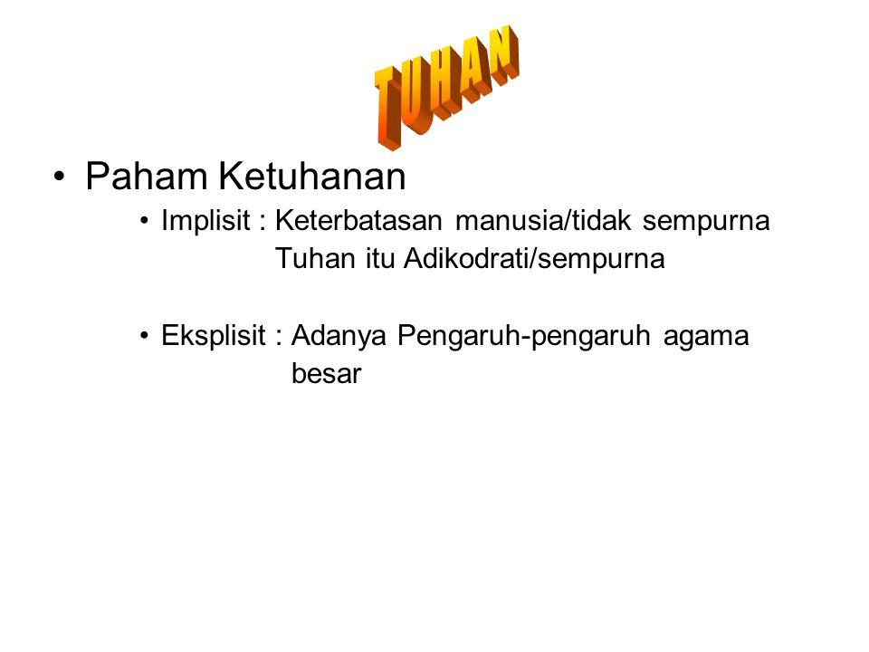 T U H A N Paham Ketuhanan. Implisit : Keterbatasan manusia/tidak sempurna. Tuhan itu Adikodrati/sempurna.