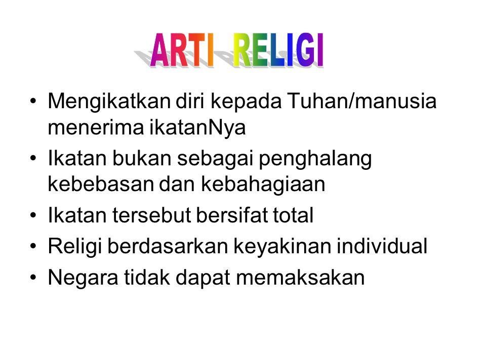 ARTI RELIGI Mengikatkan diri kepada Tuhan/manusia menerima ikatanNya