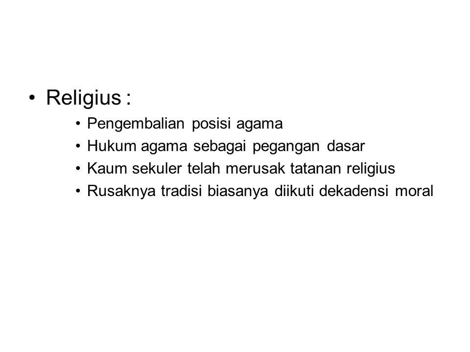 Religius : Pengembalian posisi agama