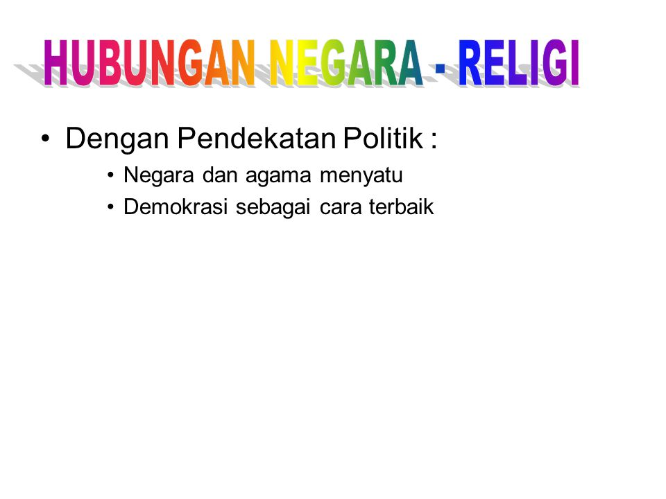HUBUNGAN NEGARA - RELIGI