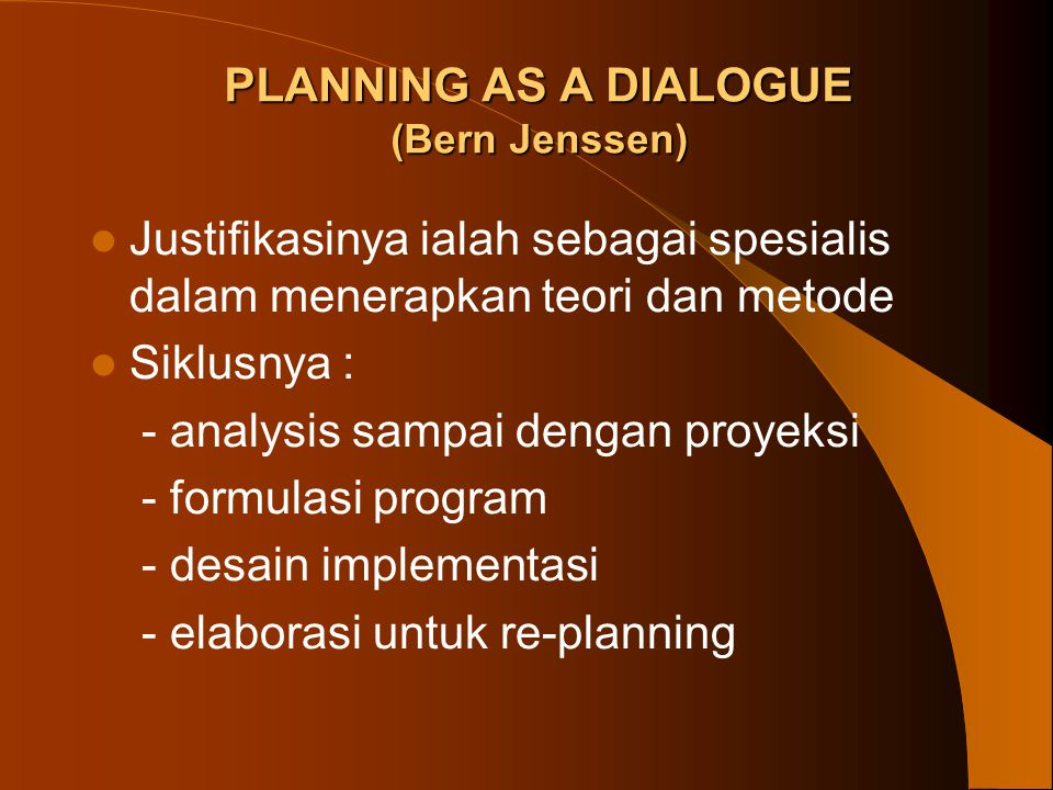 PLANNING AS A DIALOGUE (Bern Jenssen)