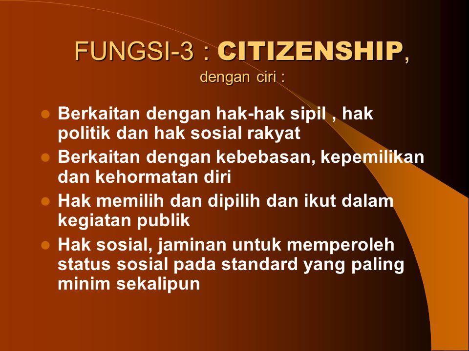 FUNGSI-3 : CITIZENSHIP, dengan ciri :