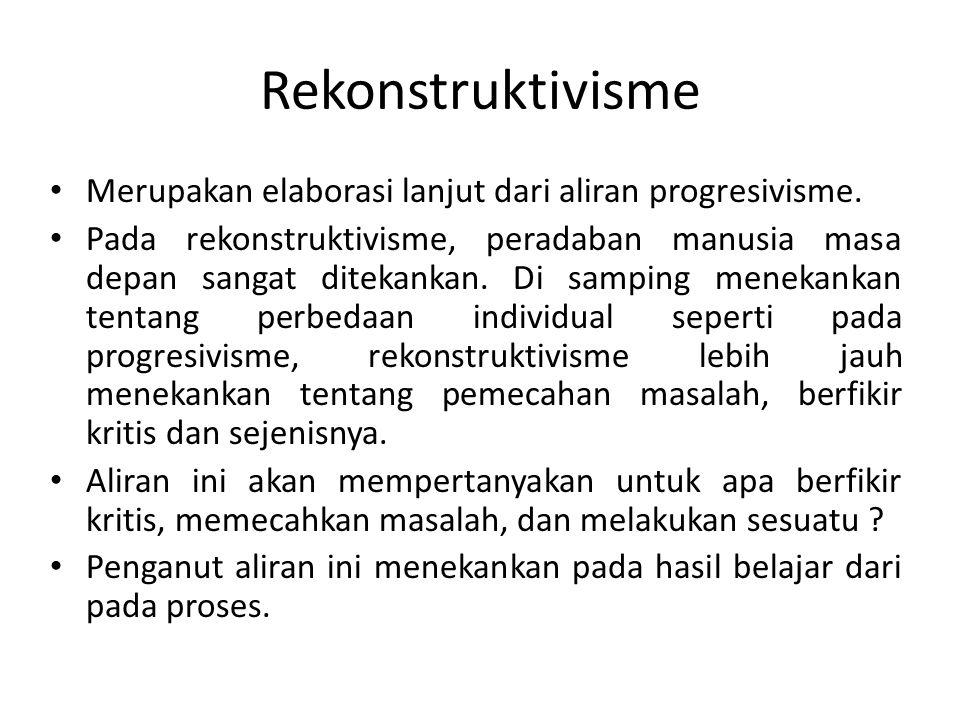 Rekonstruktivisme Merupakan elaborasi lanjut dari aliran progresivisme.