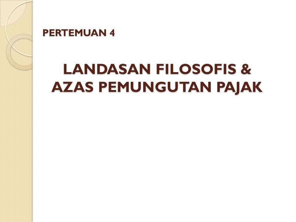 LANDASAN FILOSOFIS & AZAS PEMUNGUTAN PAJAK
