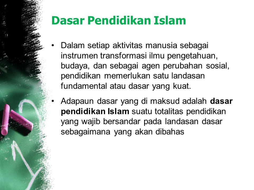 Dasar Pendidikan Islam