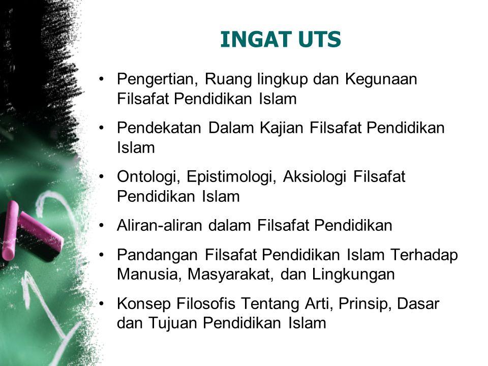 INGAT UTS Pengertian, Ruang lingkup dan Kegunaan Filsafat Pendidikan Islam. Pendekatan Dalam Kajian Filsafat Pendidikan Islam.