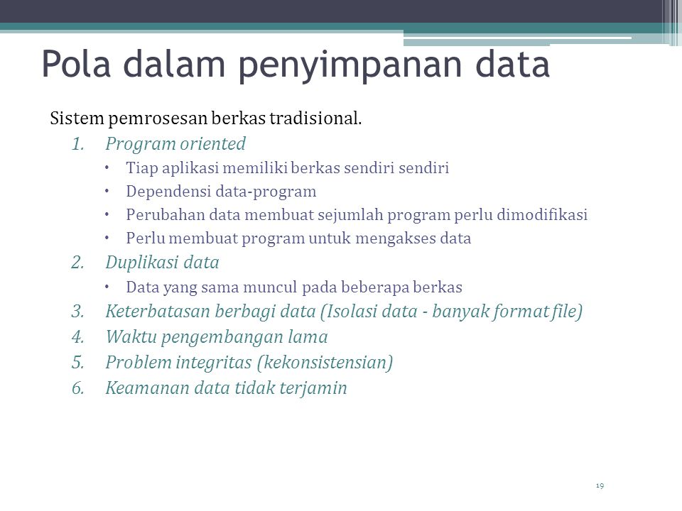 Pola dalam penyimpanan data