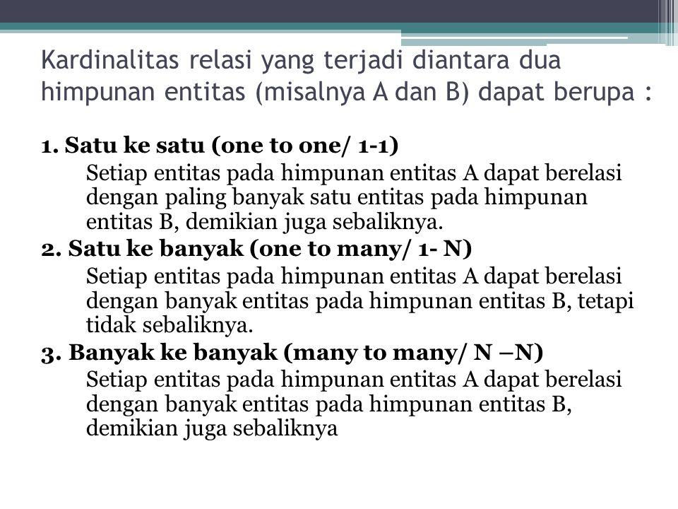 Kardinalitas relasi yang terjadi diantara dua himpunan entitas (misalnya A dan B) dapat berupa :