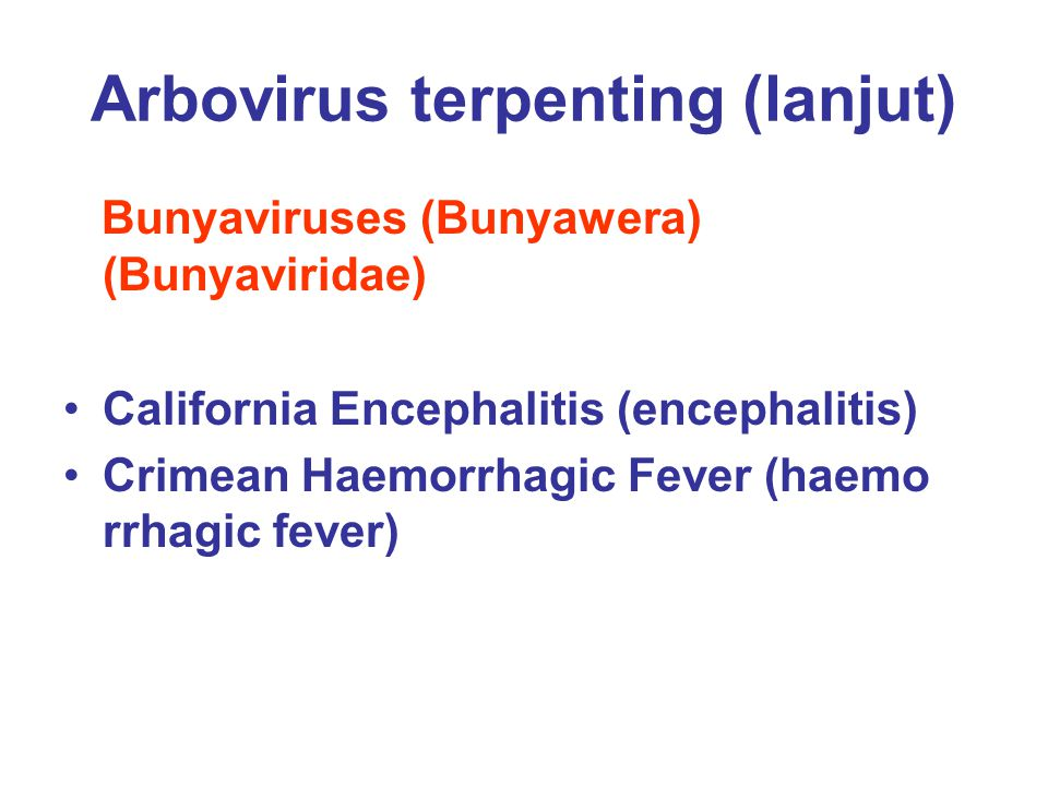 Arbovirus terpenting (lanjut)