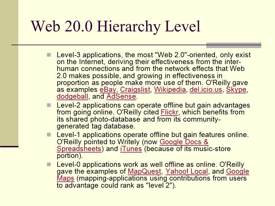 Web 20.0 Hierarchy Level