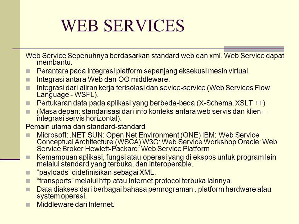 WEB SERVICES Web Service Sepenuhnya berdasarkan standard web dan xml. Web Service dapat membantu: