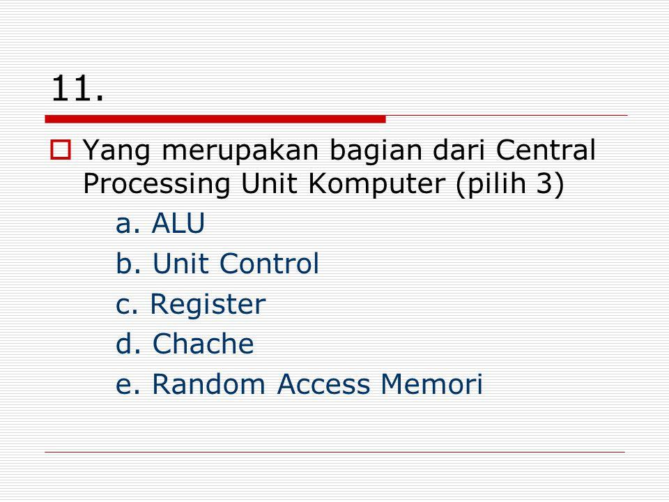11. Yang merupakan bagian dari Central Processing Unit Komputer (pilih 3) a. ALU. b. Unit Control.