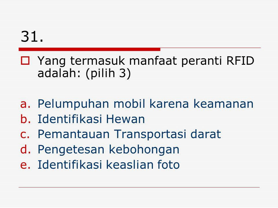 31. Yang termasuk manfaat peranti RFID adalah: (pilih 3)
