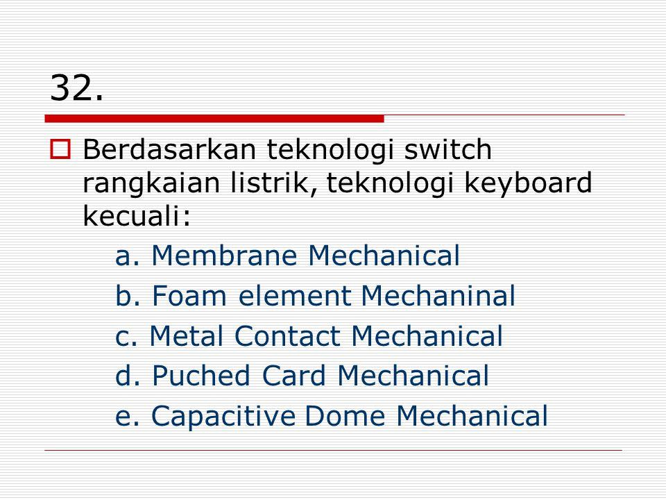 32. Berdasarkan teknologi switch rangkaian listrik, teknologi keyboard kecuali: a. Membrane Mechanical.