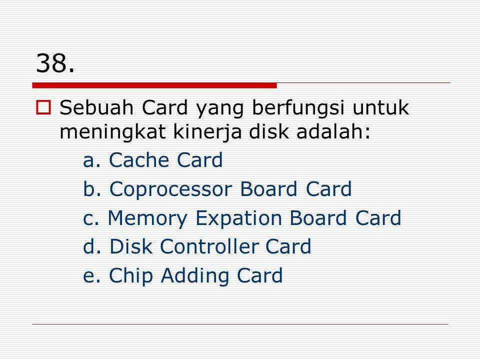 38. Sebuah Card yang berfungsi untuk meningkat kinerja disk adalah:
