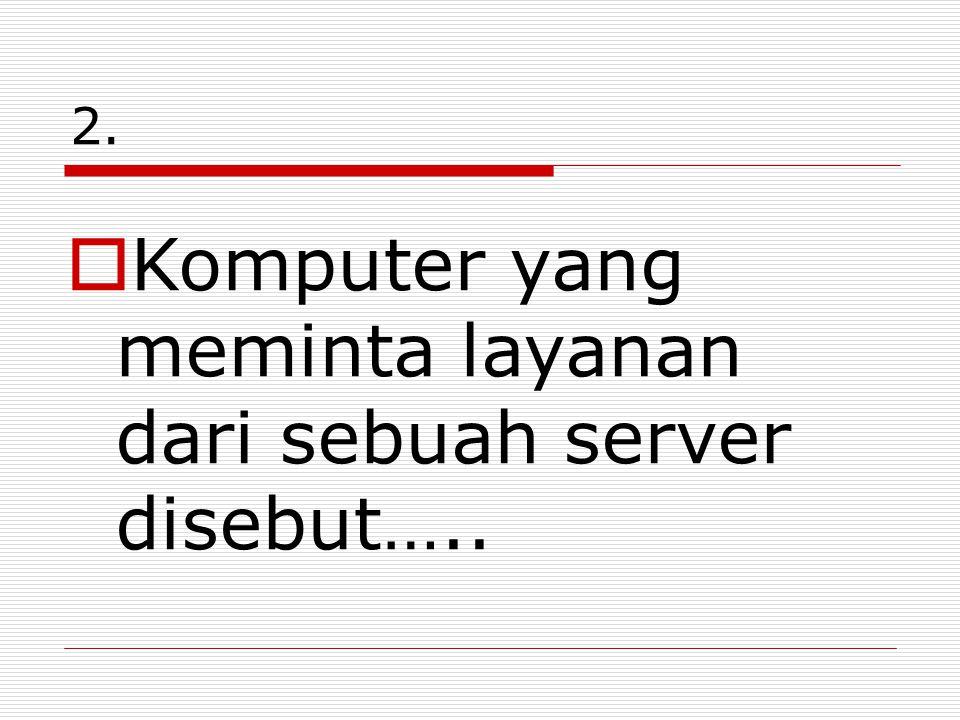 Komputer yang meminta layanan dari sebuah server disebut…..