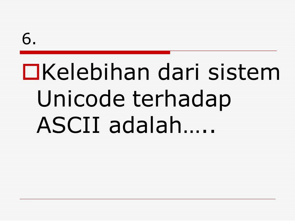 Kelebihan dari sistem Unicode terhadap ASCII adalah…..
