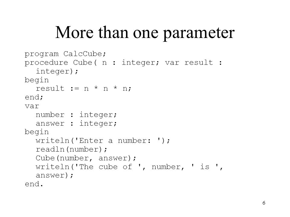 More than one parameter