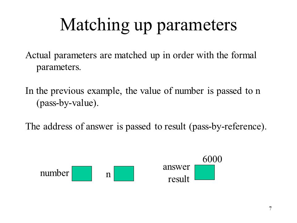 Matching up parameters