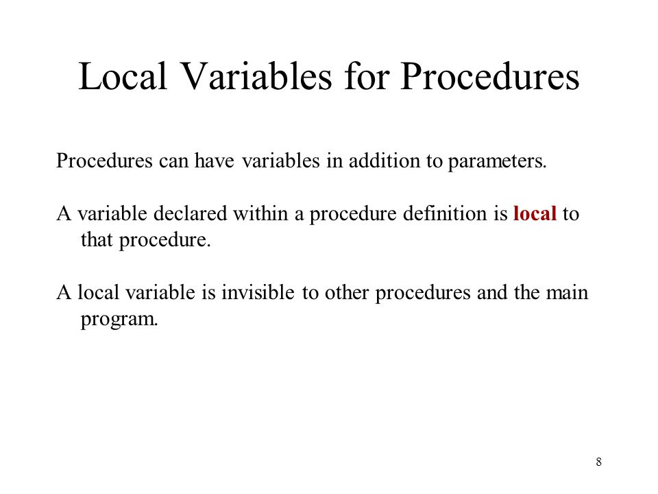 Local Variables for Procedures