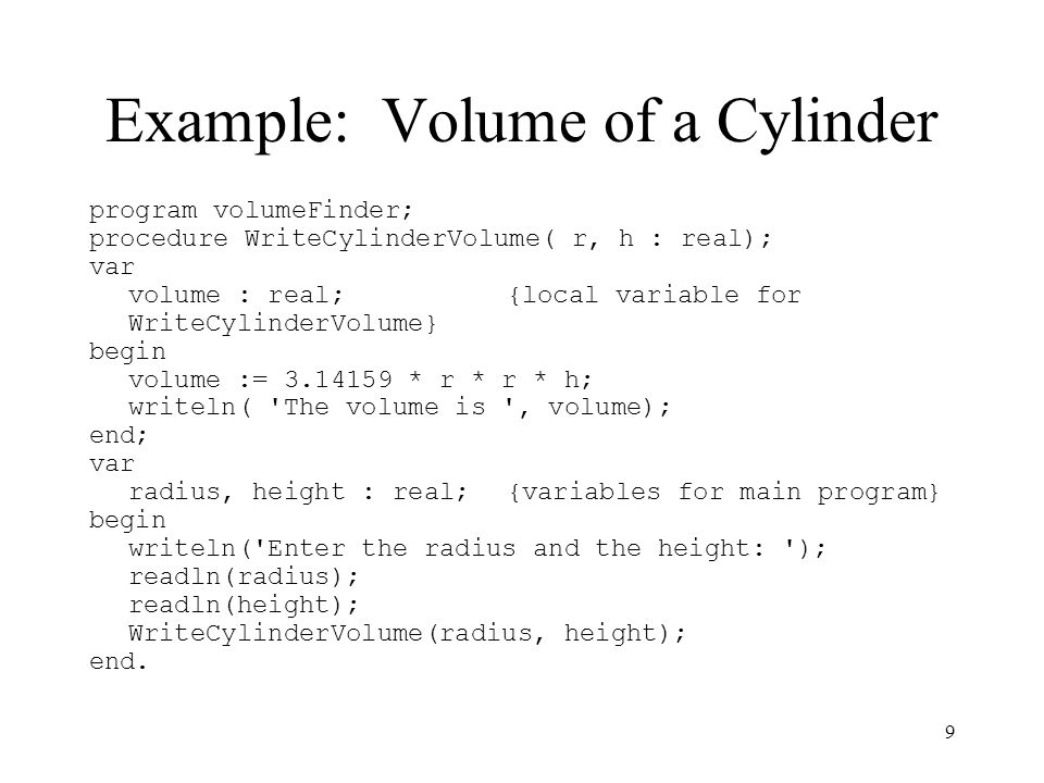 Example: Volume of a Cylinder
