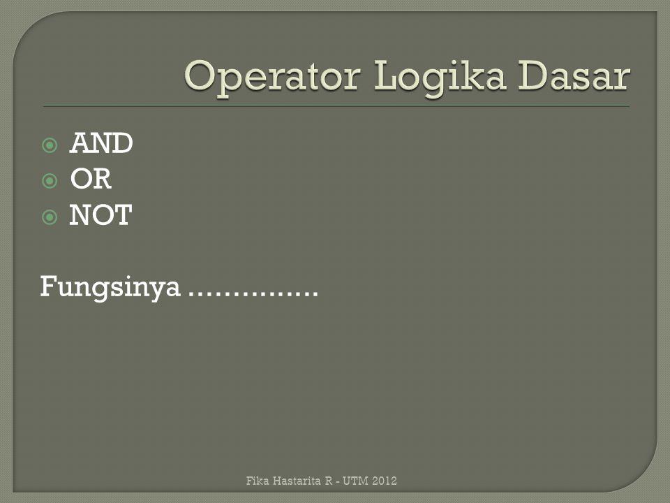 Operator Logika Dasar AND OR NOT Fungsinya ...............