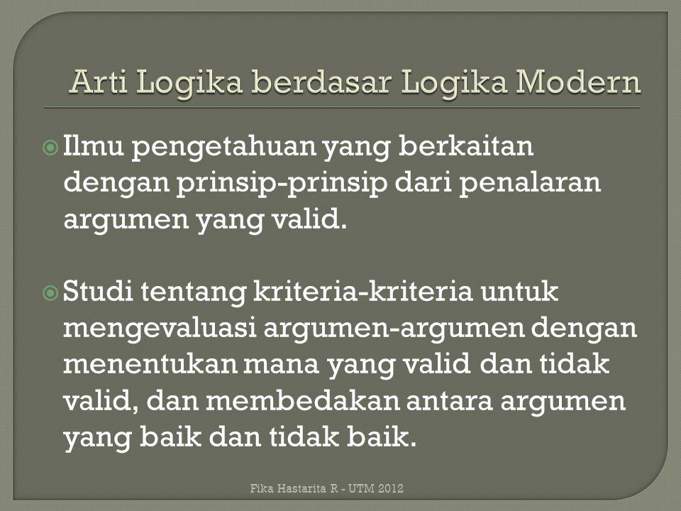 Arti Logika berdasar Logika Modern