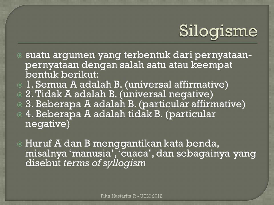 Silogisme suatu argumen yang terbentuk dari pernyataan-pernyataan dengan salah satu atau keempat bentuk berikut: