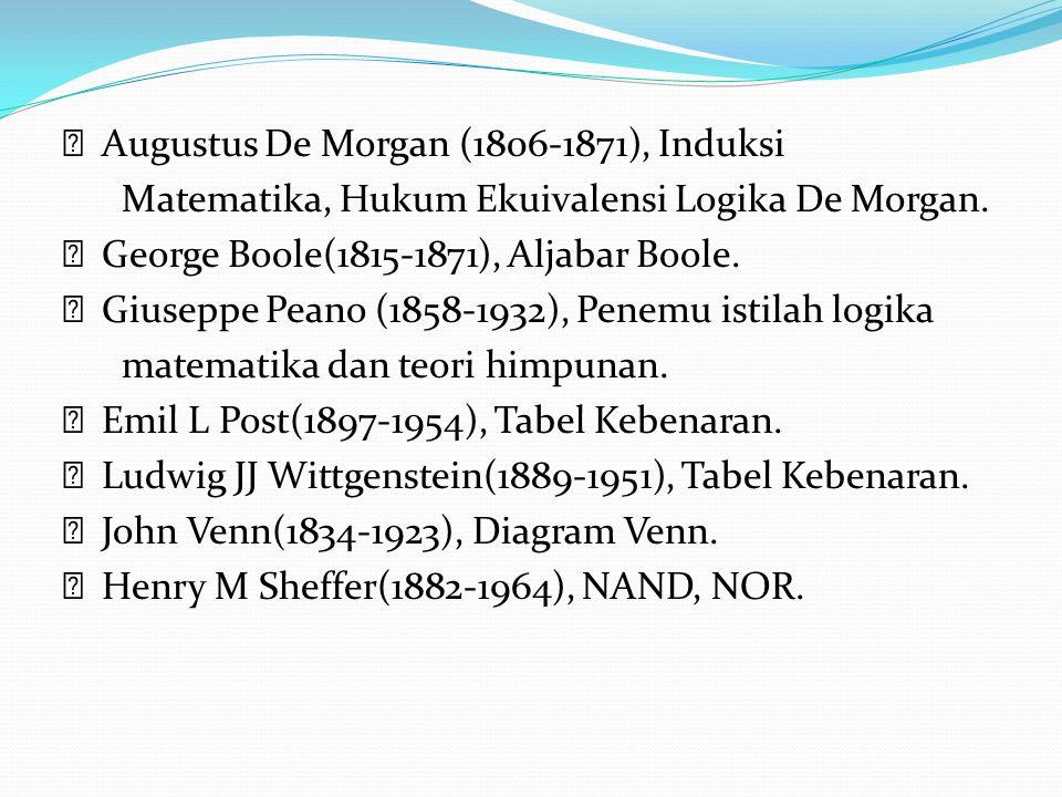  Augustus De Morgan (1806-1871), Induksi Matematika, Hukum Ekuivalensi Logika De Morgan.