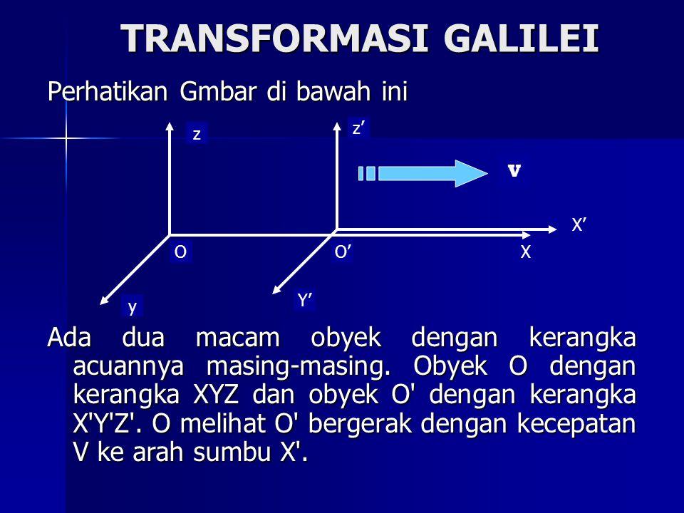 TRANSFORMASI GALILEI Perhatikan Gmbar di bawah ini