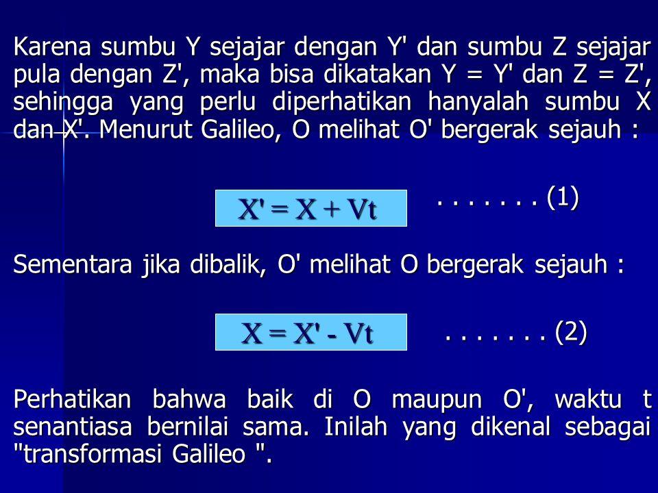 Karena sumbu Y sejajar dengan Y dan sumbu Z sejajar pula dengan Z , maka bisa dikatakan Y = Y dan Z = Z , sehingga yang perlu diperhatikan hanyalah sumbu X dan X . Menurut Galileo, O melihat O bergerak sejauh :