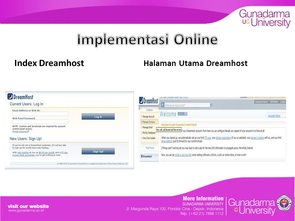 Implementasi Online Index Dreamhost Halaman Utama Dreamhost