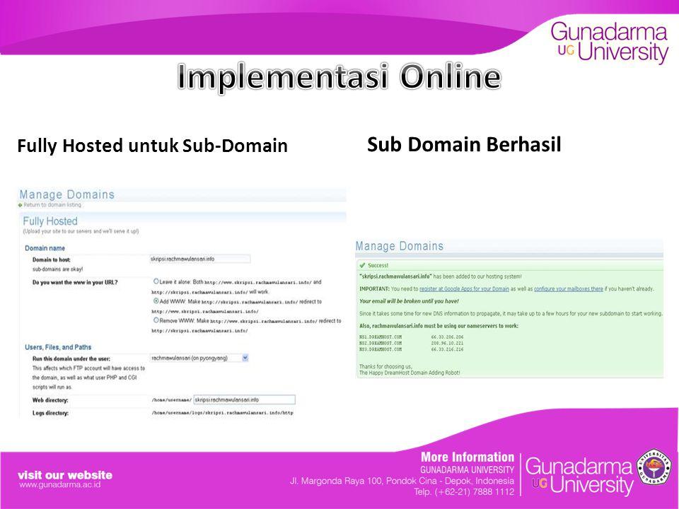 Implementasi Online Fully Hosted untuk Sub-Domain Sub Domain Berhasil