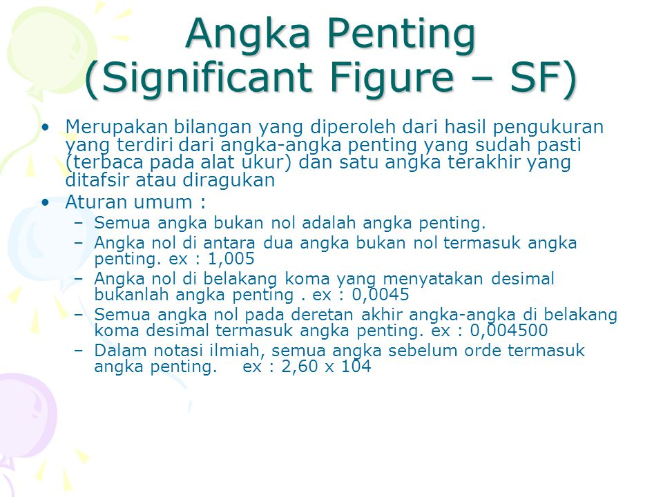 Angka Penting (Significant Figure – SF)