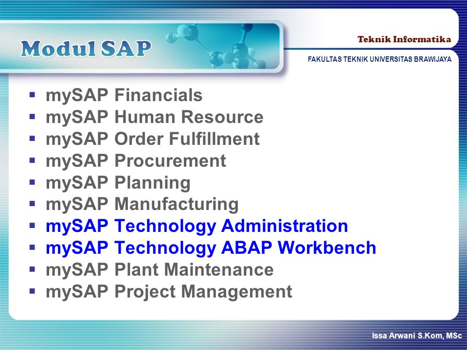 Modul SAP mySAP Financials mySAP Human Resource