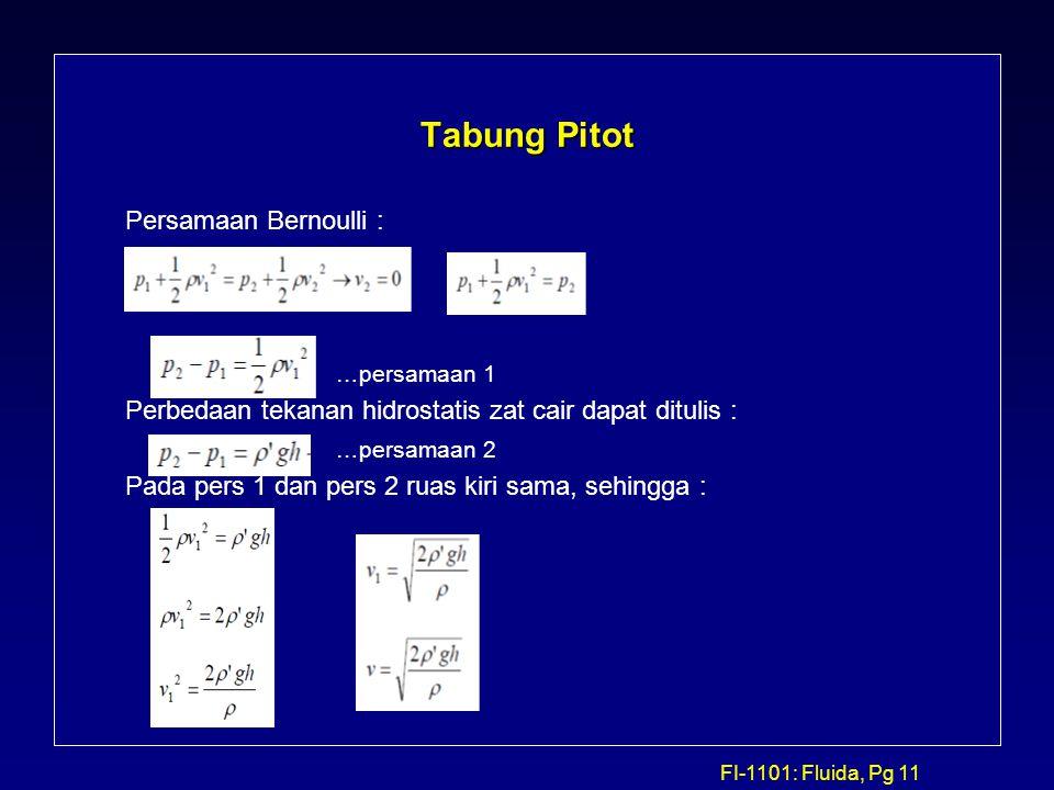 Tabung Pitot Persamaan Bernoulli : …persamaan 1
