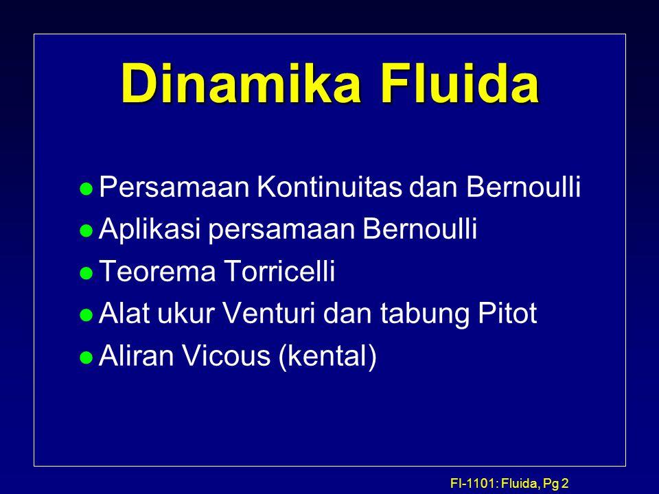 Dinamika Fluida Persamaan Kontinuitas dan Bernoulli