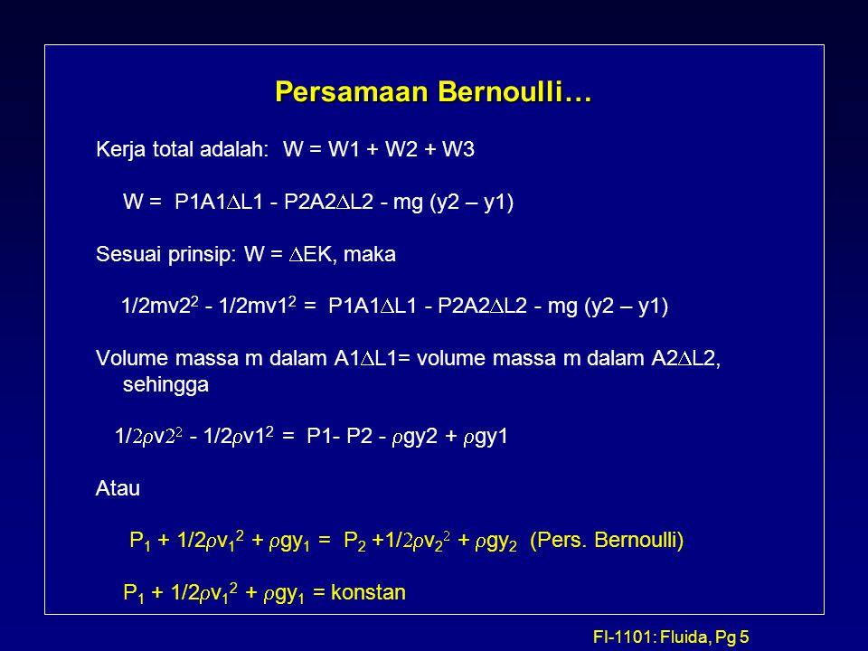 Persamaan Bernoulli… Kerja total adalah: W = W1 + W2 + W3