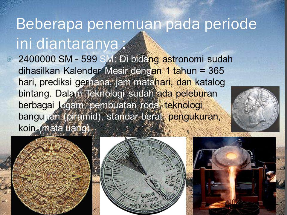 Beberapa penemuan pada periode ini diantaranya :