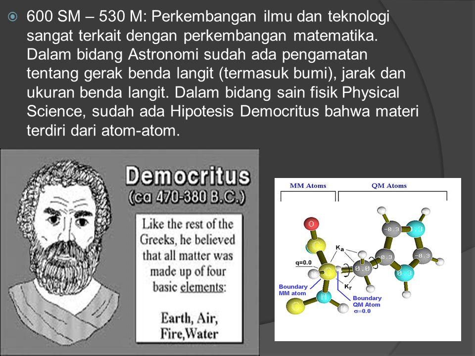 600 SM – 530 M: Perkembangan ilmu dan teknologi sangat terkait dengan perkembangan matematika.