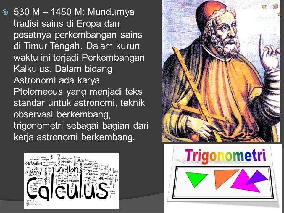 530 M – 1450 M: Mundurnya tradisi sains di Eropa dan pesatnya perkembangan sains di Timur Tengah.