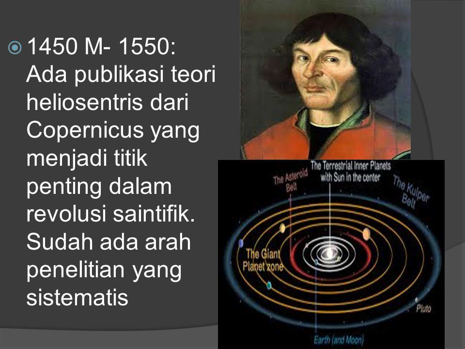 1450 M- 1550: Ada publikasi teori heliosentris dari Copernicus yang menjadi titik penting dalam revolusi saintifik.