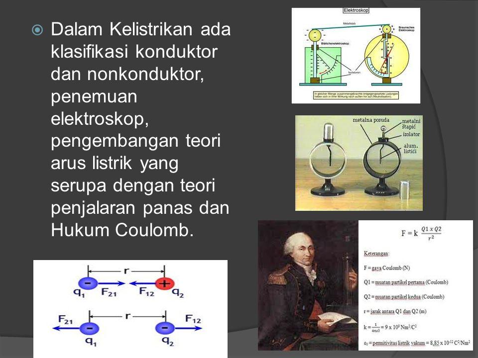Dalam Kelistrikan ada klasifikasi konduktor dan nonkonduktor, penemuan elektroskop, pengembangan teori arus listrik yang serupa dengan teori penjalaran panas dan Hukum Coulomb.