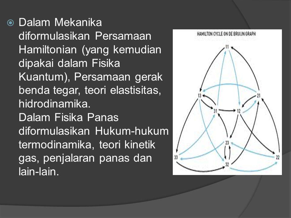 Dalam Mekanika diformulasikan Persamaan Hamiltonian (yang kemudian dipakai dalam Fisika Kuantum), Persamaan gerak benda tegar, teori elastisitas, hidrodinamika.