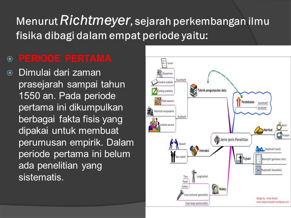 Menurut Richtmeyer, sejarah perkembangan ilmu fisika dibagi dalam empat periode yaitu: